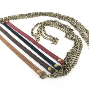 Manico per borsa con catena color bronzo con inserto in pelle, diametro 10 cm. Ideale per realizzare, personalizzare e riparare le tue borse