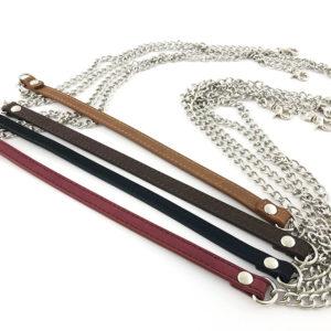 Manico per borsa con catena color argento con inserto in pelle, diametro 10 cm. Ideale per realizzare, personalizzare e riparare le tue borse