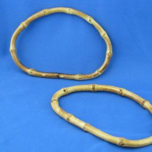 Artigianali ed esclusivi manici in bamboo 17x11 cm di forma ovale, ideali per borse e creazioni.