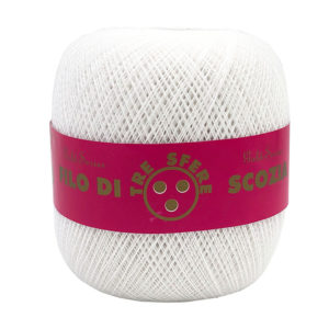 Cotone filo di Scozia colore bianco TIT 25 in gomitolo da 100 gr. Uncinetti consigliati 0.75-1.00