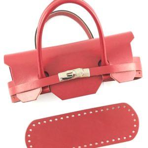 Set borsa Mini Birkin con un fondo borsa, una coppia di manici borsa abbinati in simil pelle e chiusura.