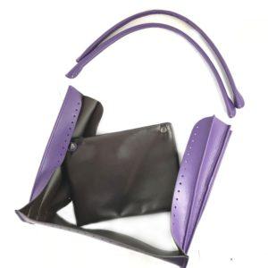 Set borsa Katy in simil pelle- con fondo, tascino e manici abbinati. Misura taschino 24x19 cm