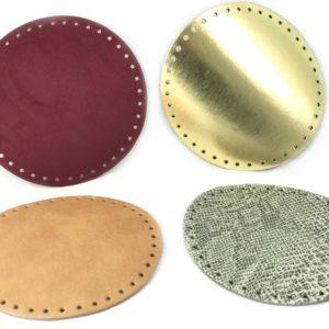 Fondi per borsa in pelle rotondi artigianali ed esclusivi, disponibili in vari colori, prodotti da manifattura italiana. Diametro 18 cm