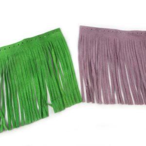 Frangia vera pelle per borse in confezione da 2 pezzi, disponibile in varie colorazioni. Misure: larghezza 20cm , altezza 22 cm