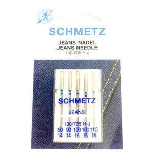 Aghi Schmetz per jeans per macchina da cucire in confezione di 5 pezzi misure assortite