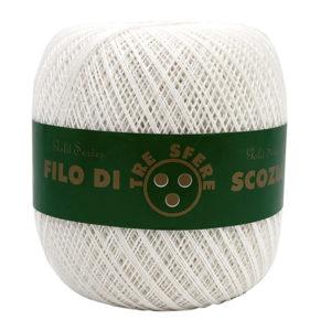 Cotone filo di Scozia colore bianco in gomitolo da 660 metri. Uncinetti consigliati 1,25 -1,50
