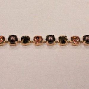 Passamaneria gioiello 0.8 cm in strass oro Articolo venduto al metro. Inserire nella quantità i metri che si intendono acquistare