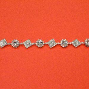 Passamaneria gioiello 1,3 cm in strass argento Articolo venduto al metro. Inserire nella quantità i metri che si intendono acquistare