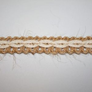 Passamaneria arredamento JUTA bicolore altezza 1 cm in poliestere Articolo venduto al metro. Inserisci la quantità desiderata