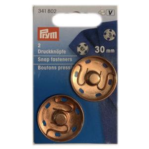 Confezione 2 bottoni automatici in ottone 30 mm disponibile in vari colori: argento, brunito nero e rosa antico