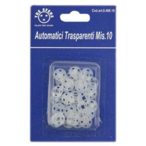 Bottoni automatici trasparenti misura 10