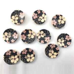 Bottoni legno artigianali diametro 2,5 cm in cartine da 10 pezzi. Disponibili in diverse fantasie