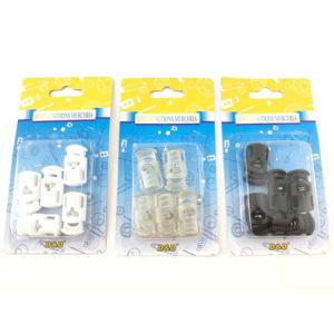 Ferma cordone in plastica disponibile in tre colorazioni differenti: bianco, nero e trasparente